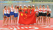 Shunyi, CHINA. GER W4X Bronze medlaist, Bow, OPPELT Britta, LUTZE Manuela, BORON Kathrin, SCHILLER Stephanie<br /> Silver medalis, GBR W4X (b), VERNON Annie, FLOOD Debbie<br /> HOUGHTON Frances, GRAINGER Katherine<br /> Gold medlalist CHN W4X  Bow, TANG Bin, JIN Ziwei<br /> XI Aihua, ZHANG Yangyang. 2008 Olympic Regatta, Shunyi Rowing Course.  Sun 17.08.2008.  [Mandatory Credit: Peter SPURRIER, Intersport Images