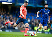 Everton's Michael Keane during an English Premier League soccer match between Chelsea and Everton at Stamford Bridge stadium, Sunday, March 8, 2020, in London, United Kingdom. Chelsea defeated Everton 4-0. (Mitchell Gunn-ESPA Images/Image of Sport via AP)