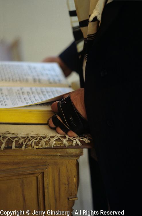 Orthodox Jewish man at morning prayers.