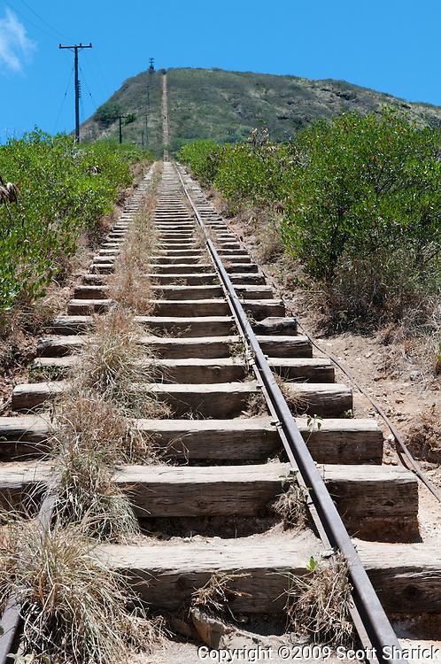 Train tracks going straight up Koko Crater in Hawaii Kai, Hawaii.