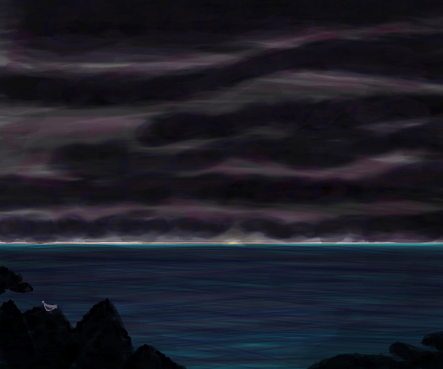 Ocean and Sky at Night after storm