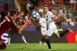 September 19, 2018 - Valencia, Spain - Denis Cheryshev shooting to goal during the Group H match of the UEFA Champions League between Valencia CF and Juventus at Mestalla Stadium on September 19, 2018 in Valencia, Spain. (Credit Image: © Jose Breton/NurPhoto/ZUMA Press)