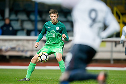 Erik Gliha of Slovenia during football match between National teams of Slovenia and France in UEFA European Under-21 Championship Qualification, on November 13, 2017 in Domzale, Slovenia. Photo by Vid Ponikvar / Sportida