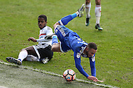 Jazz Richards of Cardiff city is tackled heavily by Ryan Sessegnon of Fulham.  The Emirates FA Cup, 3rd round match, Cardiff city v Fulham at the Cardiff city stadium in Cardiff, South Wales on Sunday 8th January 2017.<br /> pic by Andrew Orchard, Andrew Orchard sports photography.