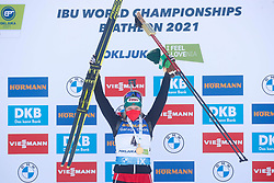 Hauser Lisa Theresa of Austria celebrates at medal ceremony during the IBU World Championships Biathlon 12,5 km Mass start Women competition on February 21, 2021 in Pokljuka, Slovenia. Photo by Vid Ponikvar / Sportida