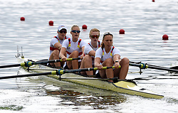 Germany's Sophie Oksche, Frauke Hacker, Ida Kruse and Alexandra Hoeffgen in the Women's Four heat two during day one of the 2018 European Championships at the Strathclyde Country Park, North Lanarkshire