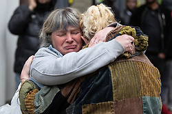 May 3, 2019 - Manchester, Greater Manchester, UK - Manchester, UK. A woman comforts another after a loud bang from the location of the suspicious device , believed to be a test carried out by bomb disposal team , causes distress and panic . Police have cordoned off several square blocks around Piccadilly Gardens in Manchester City Centre following concern that a device . A tent has been erected and a man has been arrested in connection with the incident . Oldham Library has also been evacuated on what is believed to be a connected incident  (Credit Image: © Joel Goodman/London News Pictures via ZUMA Wire)