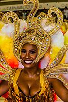 Samba dancer in the Carnaval parade of Academicos do Salgueiro samba school in the Sambadrome, Rio de Janeiro, Brazil.