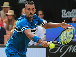 STUTTGART, June 17, 2018  Nick Kyrgios of Australia returns a shot during the singles semifinal of ATP Mercedes Cup tennis tournament against Roger Federer of Switzerland in Stuttgart, Germany on June 16, 2018. Nick Kyrgios lost 1-2. (Credit Image: © Philippe Ruiz/Xinhua via ZUMA Wire)