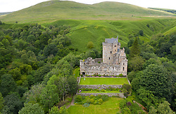 Aerial view of Castle Campbell in Dollar, Clackmannanshire, Scotland, UK