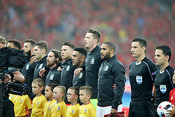LILLE, FRANCE - Friday, July 1, 2016: Wales players sing the national anthem ahead of the the UEFA Euro 2016 Championship Quarter-Final match against Belgium at the Stade Pierre Mauroy. Ben Davies, Joe Allen, James Chester, Neil Taylor, Wales goalkeeper Wayne Hennessey and captain Ashley Williams. (Pic by Paul Greenwood/Propaganda)