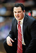 SHOT 1/21/12 6:18:02 PM - Arizona head basketball coach Sean Miller coaches against Colorado during their PAC 12 regular season men's basketball game at the Coors Events Center in Boulder, Co. Colorado won the game 64-63..(Photo by Marc Piscotty / © 2012)