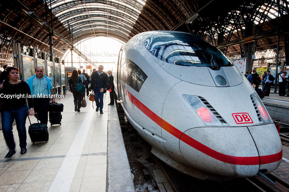 German ICE high speed train at plaform in Frankfurt railway station