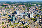 Nederland, Utrecht, Utrecht, 13-05-2019; overzicht Station Utrecht Centraal met onder andere hoofdkantoor Rabobank Group en Stadskantoor Gemeente Utrecht.<br /> Utrecht Central Station and surroundings.<br /> <br /> luchtfoto (toeslag op standard tarieven);<br /> aerial photo (additional fee required);<br /> copyright foto/photo Siebe Swart