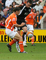Photo: Paul Greenwood.<br />Blackpool v Bristol City. Coca Cola Championship. 18/08/2007.<br />Bristol's Michale McIndoe (R) shoots past y=the challenge of Michael Hoolahan