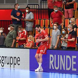 Ludwigshafens Scholz, Jonathan (Nr.11) nach dem Unentschieden beim Spiel in der Handball Bundesliga, Die Eulen Ludwigshafen - SC DHfK Leipzig.<br /> <br /> Foto © PIX-Sportfotos *** Foto ist honorarpflichtig! *** Auf Anfrage in hoeherer Qualitaet/Aufloesung. Belegexemplar erbeten. Veroeffentlichung ausschliesslich fuer journalistisch-publizistische Zwecke. For editorial use only.