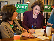 08 NOVEMBER 2019 - DES MOINES, IOWA: US Senator AMY KLOBUCHAR (D-MN) signs a copy of her book during a campaign event in Ankeny, a suburb of Des Moines. Sen. Klobuchar is campaigning to be the Democratic nominee for the US Presidency. Iowa holds the first selection event of the Presidential election cycle. The Iowa caucuses are Feb. 3, 2020.         PHOTO BY JACK KURTZ