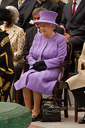 © Licensed to London News Pictures. 02/05/2012. Exeter, UK. Queen Elizabeth II and the Duke of Edinburgh visit Princesshay shopping centre on the 2nd day of the Diamond Jubilee Tour to the South West. Photo credit : Ashley Hugo/LNP