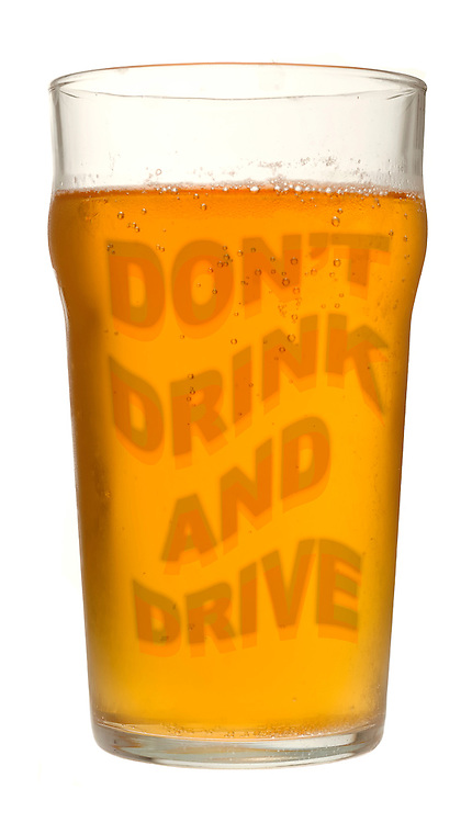 Pint of Lager with anti Drink Drive Slogan