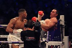 29 April 2017 - Boxing - Anthony Joshua v Wladimir Klitschko (IBF and WBA heavyweight) - Joshua pins Klitschko on the ropes before sending him to the canvas - Photo: Marc Atkins / Offside.