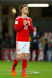 CARDIFF, WALES - Monday, October 9, 2017:  Wales' Aaron Ramsey looks dejected after losing 1-0 during the 2018 FIFA World Cup Qualifying Group D match between Wales and Republic of Ireland at the Cardiff City Stadium. (Pic by Paul Greenwood/Propaganda)