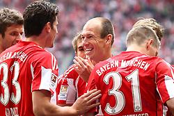 30.04.2011, Allianz Arena, Muenchen, GER, 1.FBL, FC Bayern Muenchen vs FC Schalke 04 , im Bild Jubel nach dem tor zum 1-0 durch Arjen Robben (Bayern #10) mit Mario Gomez (Bayern #33)  und Thomas Mueller (Bayern #25)  , EXPA Pictures © 2011, PhotoCredit: EXPA/ nph/  Straubmeier       ****** out of GER / SWE / CRO  / BEL ******