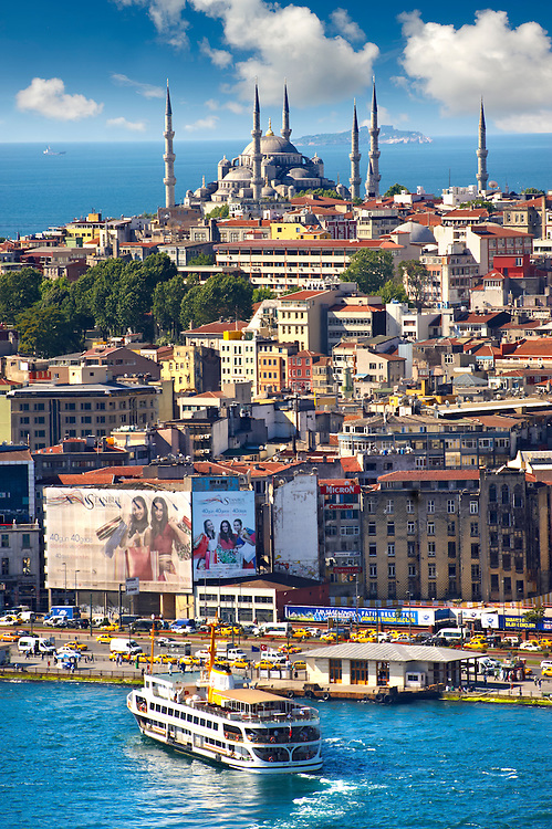 The Suleymaniye Mosque (Süleymaniye Camii, 1550-1558)  on the Third Hill with a ferries on the banks of the Golden Horn in the foreground, Istanbul Turkey. .<br /> <br /> If you prefer to buy from our ALAMY PHOTO LIBRARY  Collection visit : https://www.alamy.com/portfolio/paul-williams-funkystock/istanbul.html<br /> <br /> Visit our TURKEY PHOTO COLLECTIONS for more photos to download or buy as wall art prints https://funkystock.photoshelter.com/gallery-collection/3f-Pictures-of-Turkey-Turkey-Photos-Images-Fotos/C0000U.hJWkZxAbg