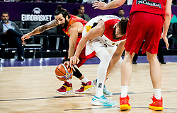 Ricky Rubio of Spain vs Danilo Barthel of Germany during basketball match between National Teams of Germany and Spain at Day 13 in Round of 16 of the FIBA EuroBasket 2017 at Sinan Erdem Dome in Istanbul, Turkey on September 12, 2017. Photo by Vid Ponikvar / Sportida
