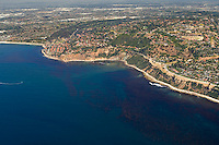 Aerial view of Palos Verdes looking east/northeast with a productive kelp forest in the foreground along the coast.