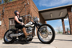 Godspeed, Karen Moore's Moore Customs 1992 1200cc XL Sportster from Wichita, KS. Photographed by Michael Lichter in Boulder, CO May 15, 2019. ©2019 Michael Lichter.
