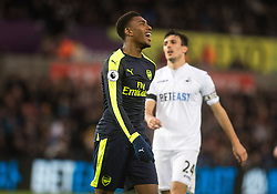 SWANSEA, WALES - Saturday, January 14, 2017: <br /> Arsenal's Alex Iwobi celebrates his second goal against Swansea City during the FA Premier League match at the Liberty Stadium. (Pic by Gwenno Davies/Propaganda)