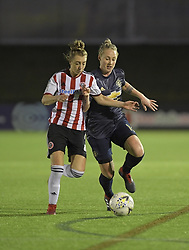 February 20, 2019 - Sheffield, United Kingdom - Leah Galton (Manchester United) and Jade Pennock (Sheffield United) in a close battle for the ball during the  FA Women's Championship football match between Sheffield United Women and Manchester United Women at the Olympic Legacy Stadium, on February 20th Sheffield, England. (Credit Image: © Action Foto Sport/NurPhoto via ZUMA Press)