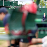 LONDON, ENGLAND - JULY 13:  A line judge on an outer court during the Wimbledon Lawn Tennis Championships at the All England Lawn Tennis and Croquet Club at Wimbledon on July 13, 2017 in London, England. (Photo by Tim Clayton/Corbis via Getty Images)