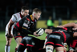 Dragons' Dan Babos puts in to the scrum<br /> <br /> Photographer Simon King/Replay Images<br /> <br /> Guinness Pro14 Round 10 - Dragons v Ulster - Friday 1st December 2017 - Rodney Parade - Newport<br /> <br /> World Copyright © 2017 Replay Images. All rights reserved. info@replayimages.co.uk - www.replayimages.co.uk