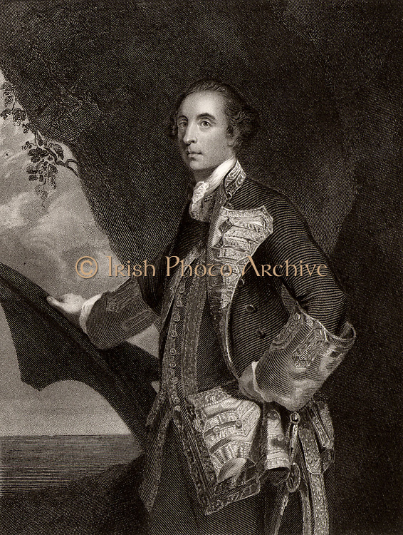 George Brydges Rodney (1718-1792) lst Baron Rodney, born at Walton-on-Thames, Surrey.  English naval officer who retired with the rank of Rear Admiral.