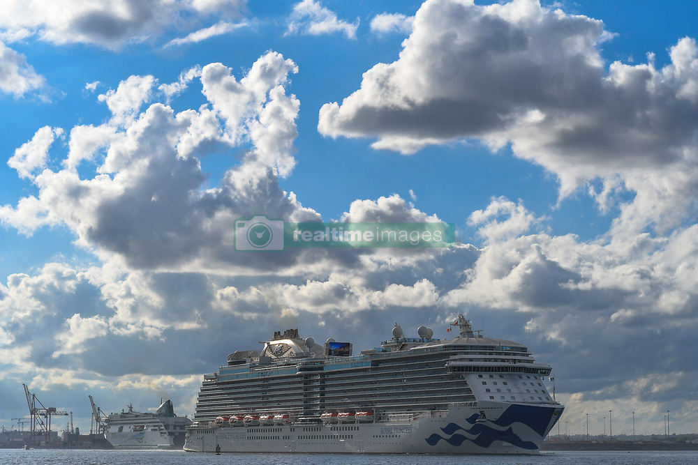 May 5, 2018 - Dublin, Ireland - A view of MS Royal Princess living Dublin, a cruise ship operated by Princess Cruises, and the third ship to sail for the cruise line under that name. The ship was built by Fincantieri at their shipyard in Monfalcone, Italy. Royal Princess is the flagship of the Princess fleet, a designation held up to that point by Grand Princess..On Saturday, May 5 2018, in Dublin, Ireland. (Credit Image: © Artur Widak/NurPhoto via ZUMA Press)