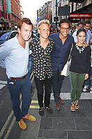 LONDON - July 01: Francis Boulle, Jamie Laing, Andy Jordan & Louise Thompson at the A Curious Night at the Theatre - Gala Evening (Photo by Brett D. Cove)