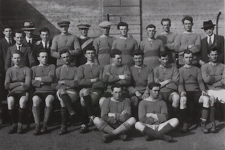 """Galway-All-Irland Final Runners-up 1922. They were defeated by Dublin 0-6 to 0-4. Back Row: Paddy Kilroy, Martin Egan, Willie Flanagan, Denis Egan, Paddy Reddington, Tom Hession and John Egan. Middle Row: Frank Benson, Tom Molloy, J Hannify, Mick Donnellan, Mick """"Knacker"""" Walsh, Gilbey Jennings, John Kirwan, Martin Walsh and Leonard McGrath. Front Row: Paddy Roche and Harry Cunningham."""