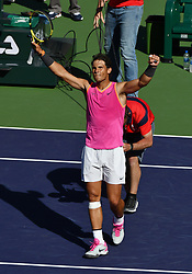 March 15, 2019 - Indian Wells, CA, U.S. - INDIAN WELLS, CA - MARCH 15: Rafael Nadal (ESP) reacts after defeating Karen Khachanov (RUS) in a quarterfinals match 7-6, 7-6 played during the BNP Paribas Open on March 15, 2019 at the Indian Wells Tennis Garden in Indian Wells, CA. (Photo by John Cordes/Icon Sportswire) (Credit Image: © John Cordes/Icon SMI via ZUMA Press)