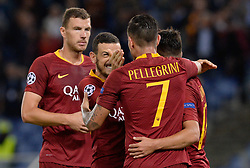 October 2, 2018 - Rome, Italy - Cengiz Under celebrates after scoring goal 3-0 during the UEFA Champions League match group G between AS Roma and Viktoria Plzen at the Olympic stadium on october 02, 2018 in Rome, Italy. (Credit Image: © Silvia Lore/NurPhoto/ZUMA Press)