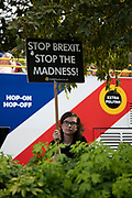Anti Brexit protesters waving placards, one reading Stop the brexit madness in Westminster as it is announced that Boris Johnson has had his request to suspend Parliament approved by the Queen on 28th August 2019 in London, England, United Kingdom. The announcement of a suspension of Parliament for approximately five weeks ahead of Brexit has enraged Remain supporters who suggest this is a sinister plan to stop the debate concerning a potential No Deal.
