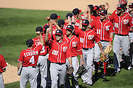 CHICAGO, IL - JUNE 26:  Jayson Werth #28 and other members of the Washington Nationals celebrate after the game against the Chicago White Sox on June 26, 2011 at U.S. Cellular Field in Chicago, Illinois.  The Nationals defeated the White Sox 2-1.  (Photo by Ron Vesely/MLB Photos via Getty Images)  *** Local Caption *** Jayson Werth
