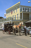 Horse and Carriage on Main street with Mendocino Hotel in the background, Mendocino, California