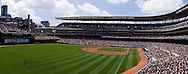 [Note:  This panorama was created from several photos and stitched during post-processing.]  A panoramic view of Target Field during a game between the Chicago White Sox and Minnesota Twins in Minneapolis, Minnesota on June 16, 2011.