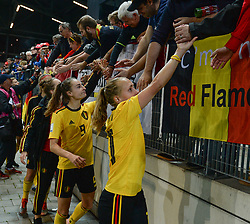 October 9, 2018 - Biel, SWITZERLAND - Belgium's Tessa Wullaert and Belgium's Janice Cayman thanking the fans after a soccer game between Switzerland and Belgium's national team the Red Flames, Tuesday 09 October 2018, in Biel, Switzerland, the return leg of the play-offs qualification games for the women's 2019 World Cup. BELGA PHOTO DAVID CATRY (Credit Image: © David Catry/Belga via ZUMA Press)