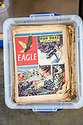 Vintage Eagle comics with Dan Dare cartoon story on display in house clearance auction sale room, UK