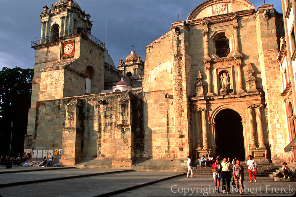 MEXICO, COLONIAL CITIES Oaxaca Cathedral on the Zocalo plaza