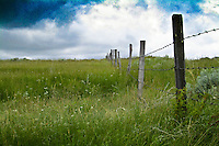 Barb wire fence on prairie, clouds overhead, Saskatchewan