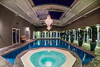 Jacuzzi and swimming pool, Majeka House Hotel, Stellenbosch, Cape Winelands, South Africa.