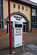 Twickenham, Surrey, UK., Saturday, 13/02/2021, Webb Ellis House, HQ., Keith Prowse Hospitality,  RFU Twickenham Stadium Area, deserted streets around the stadium on the afternoon  of England vs Italy, behind closed doors, Lock Down, Covid19; Sunny Winter Day,  Blue Sky, White Clouds, Mandatory Credit: Peter Spurrier,